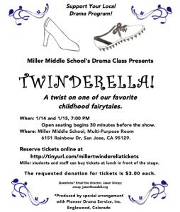 TWINDERELLA, January 14 & 15, 7:00pm